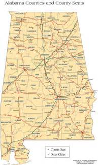 Alabama County Map with Cities
