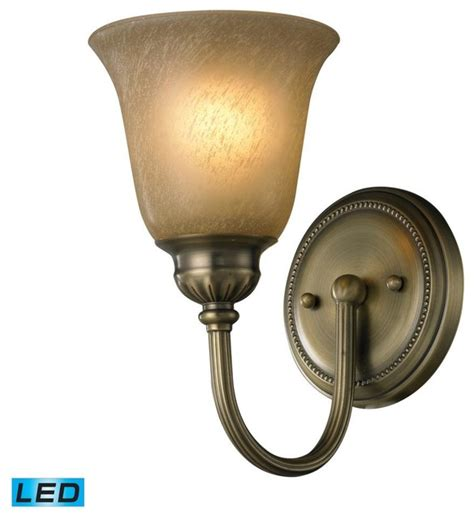 one light antique brass bathroom sconce traditional