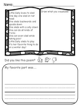 winter poems visualizing no prep worksheets by karly s