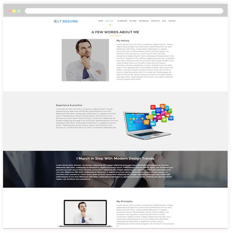 profile responsive portfolio resume one page theme