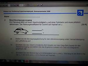 Geschwindigkeit Berechnen Auto : auto mit geschwindigkeit bremsweg beschleunigung wer kann die aufgabe l sen nanolounge ~ Themetempest.com Abrechnung