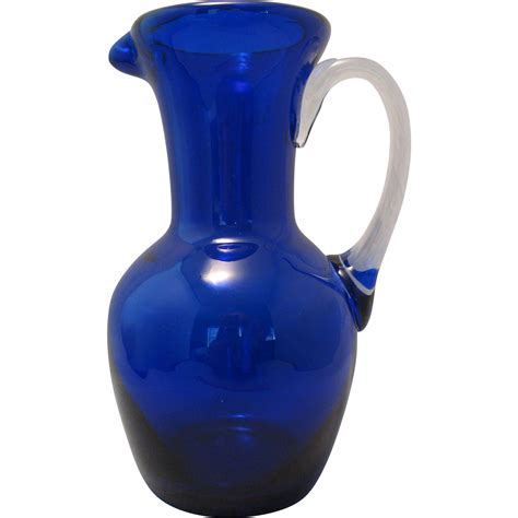 cobalt blue glass l beautiful blown 7 quot cobalt blue thick glass ewer pitcher