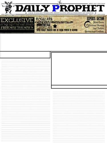 harry potter daily prophet newspaper template teaching