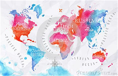 watercolor world map pink blue stock vector image