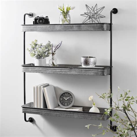 Wall Shelves by Product Details Galvanized Metal 3 Tier Wall Shelf In 2019