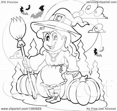 Sitting Witch Halloween Pumpkins Clipart Vector Outlined