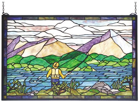 Gone Fly Fishing Stained Glass Window