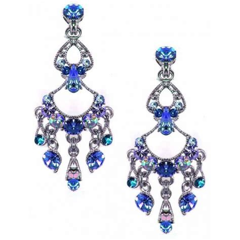 vintage blue topaz teardrop chandelier earrings