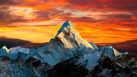sunset  himalayan mountain mount everest  nepal