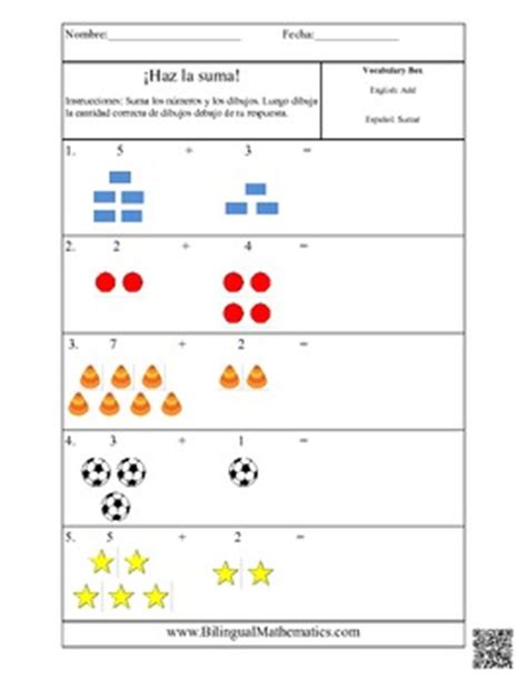 Spanish Math Worksheets  Add It Up! Simple Addition By Bilingual Printables
