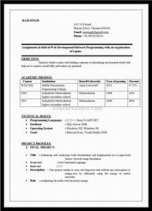 web development fresher resume format resume format for With resume format for freshers free download in ms word
