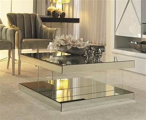 Luxury mirrored coffee table cabinets beds sofas and for Mirrored coffee table and end tables