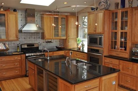 granite countertops on maple cabinets kitchen