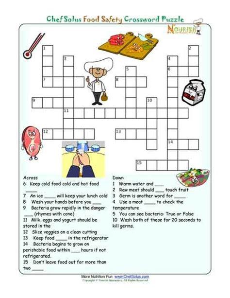 puzzle cuisine printable nutrition crossword puzzle food safety classroom food safety safety