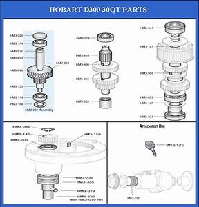 Hobart 30qt D300 Mixer Parts And Accessories