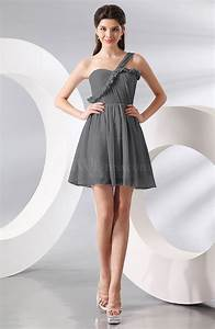 Grey elegant a line one shoulder chiffon short ruching for Grey wedding guest dress