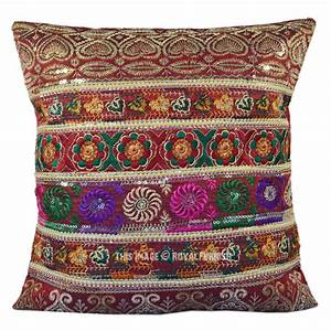Antique, Multicolor, Silk, Embroidered, Sequin, Indian, Decorative, Throw, Pillow