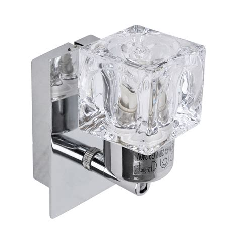 modern silver chrome glass cube indoor wall sconce