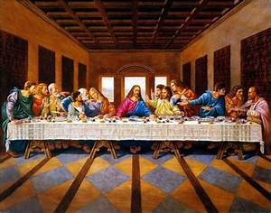 Jesus Christ The Last Supper Religious, 22x28 Black Art
