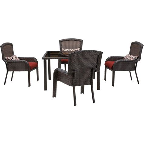 hanover strathmere 5 all weather wicker square patio