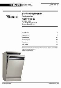 Whirlpool Adpf 988 Ix Dishwasher Service Information