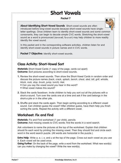 short vowels  fun reading lesson plans worksheets