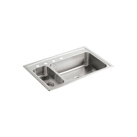 stainless steel drop in kitchen sinks kohler toccata drop in stainless steel 33 in 4 9392