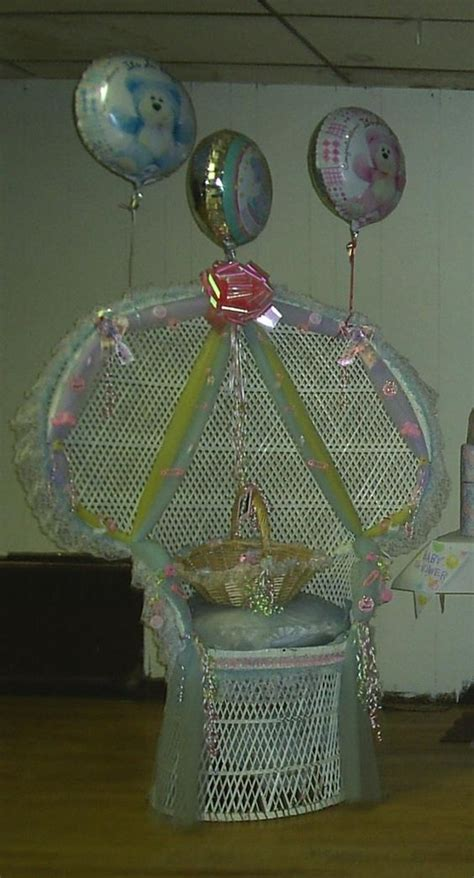 Decorating Chair For Baby Shower - decorated wicker chair for a baby shower ideas