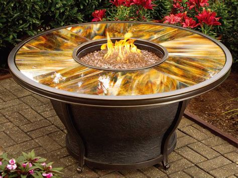 small fire pit table oakland living moonlight aluminum 48 round gas firepit
