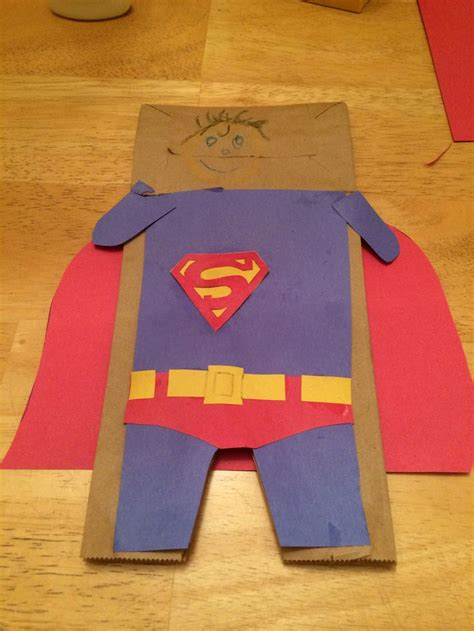 brown paper bag puppet superman paper bag puppets