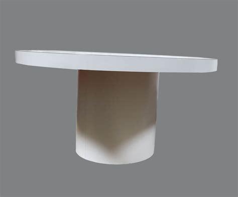 mid century modern white  dining table tube base