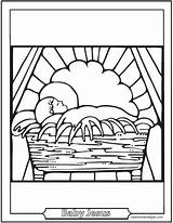 Coloring Crib Jesus Bible Template Mary Miracles sketch template
