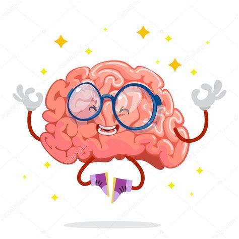 Mascote personagem de desenhos animados do cérebro em um