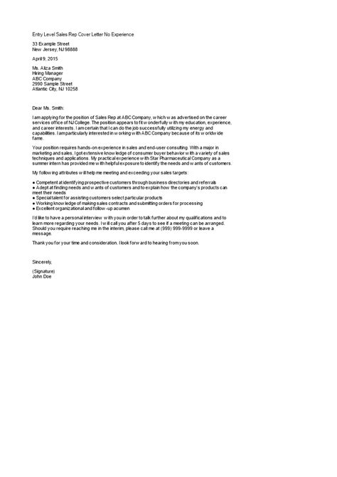 Sle Resume Cover Letter Exles by Entry Level Sales Rep Cover Letter No Experience How To
