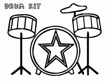 Drum Coloring Pages Kit Musical Drawing Instruments