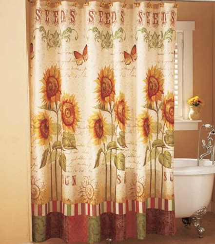 bathroom sunflower rustic shower butterfly fabric curtain floral country curtains