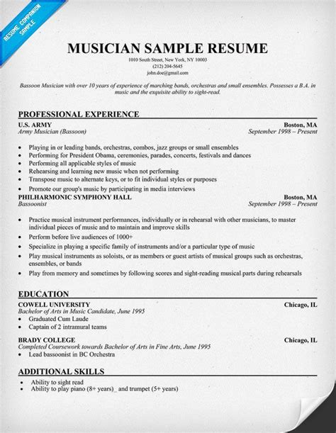 Musical Resume by Free Musician Resume Exle Resumecompanion