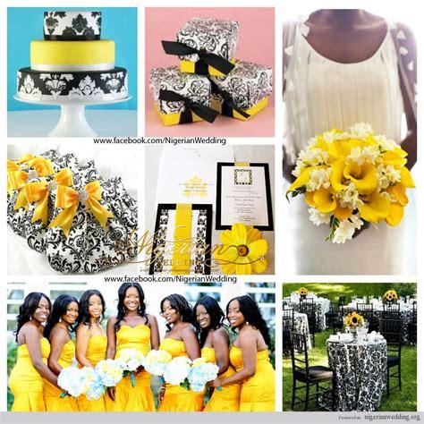 nigerian wedding colors black white yellow damask