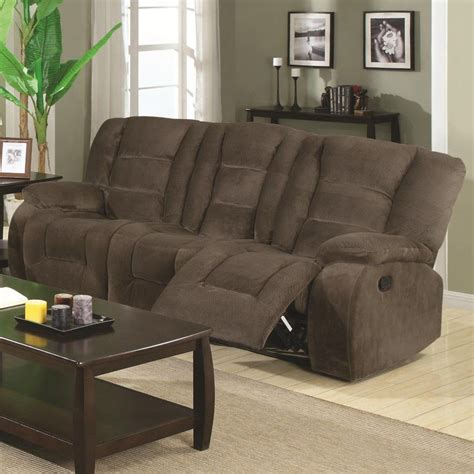Suede Sofa by Suede Reclining Sofa Saddle Brown Padded Microfiber Suede