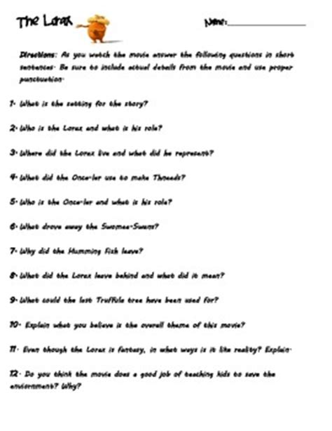 the lorax questions by janann rodriguez teachers