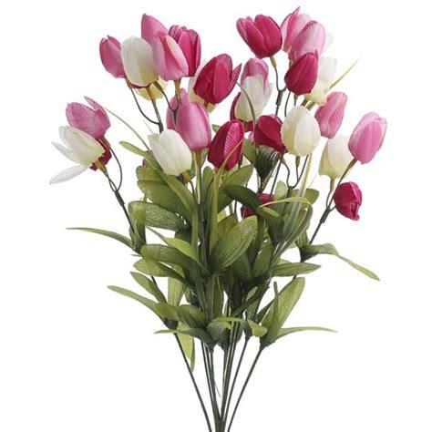 pink  cream artificial tulip bush bushes bouquets