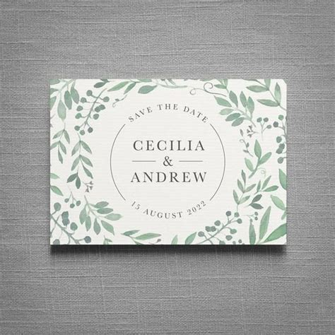 Secret Garden Concertina Greenery wedding invitation and