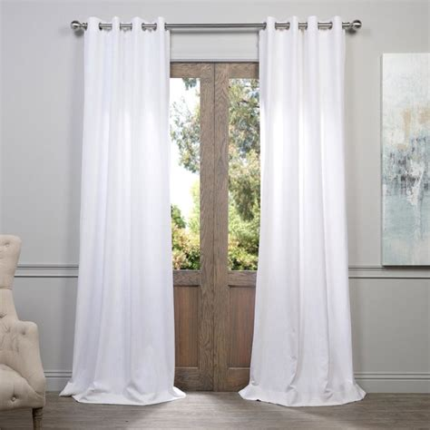 white grommet heavy faux linen curtain contemporary curtains