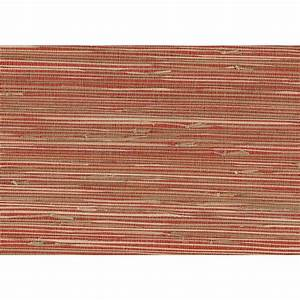 Kenneth James 8 in. x 10 in. Rio Brick Grasscloth Wallpaper Sample