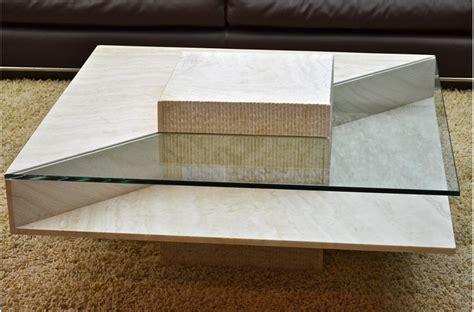 table basse en marbre louvre et verre tremp 233 pour environnement haut de gamme living roc