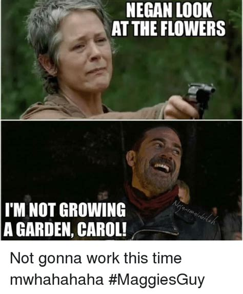 Look At The Flowers Meme - negan look at the flowers i m not growing a garden carol not gonna work this time mwhahahaha