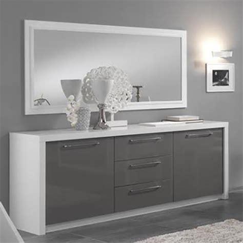 cuisine gris laque bahut 2 portes 3 tiroirs fano laqué blanc et gris blanc