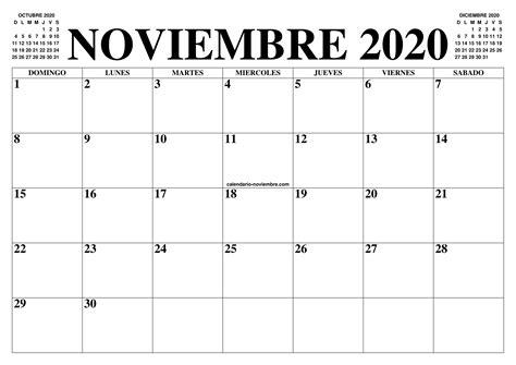 calendario noviembre el calendario noviembre