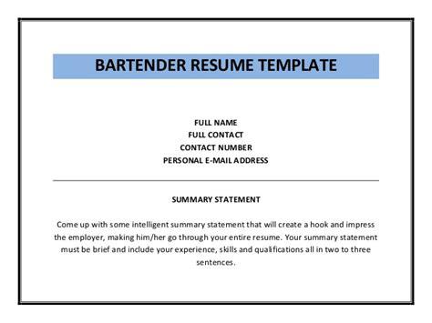 Bartender Qualifications Resume by Bartender Resume Template Pdf