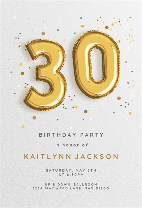 foil balloons birthday invitation template